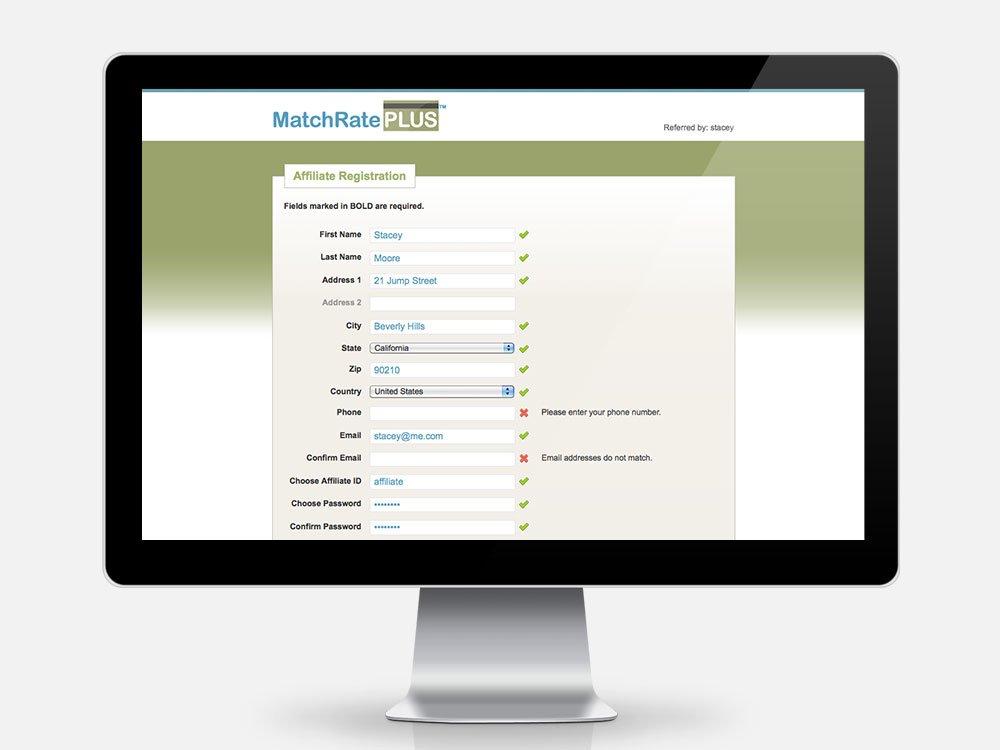 MatchRate PLUS Affiliate Registration