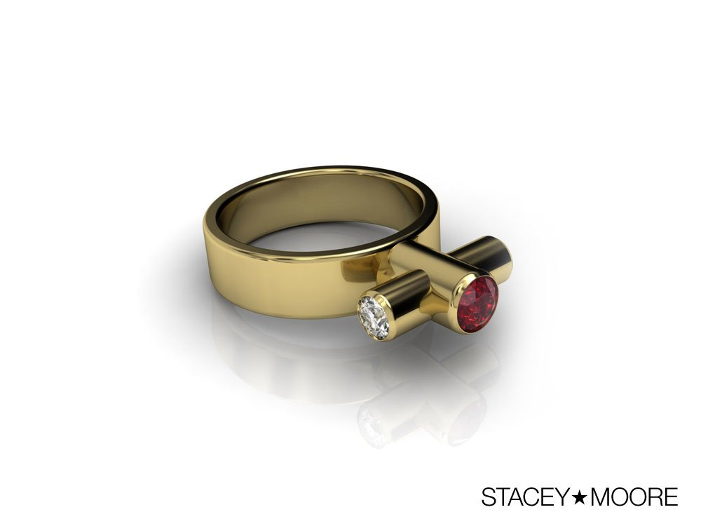 Periscope Ring with Ruby and Diamond