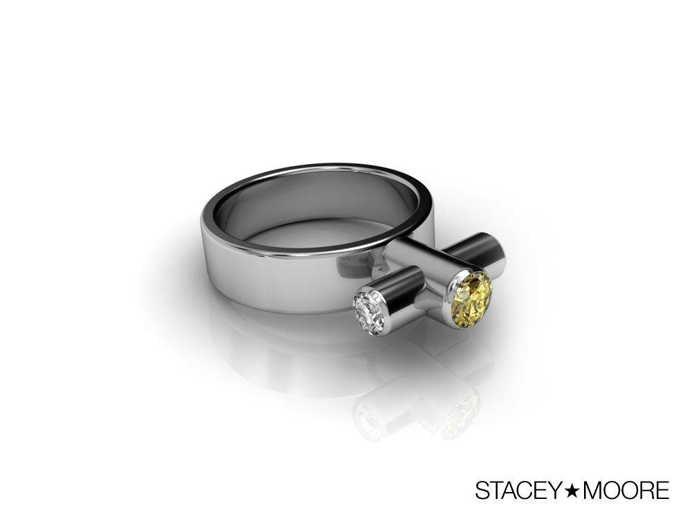 Periscope Ring with Yellow Diamond