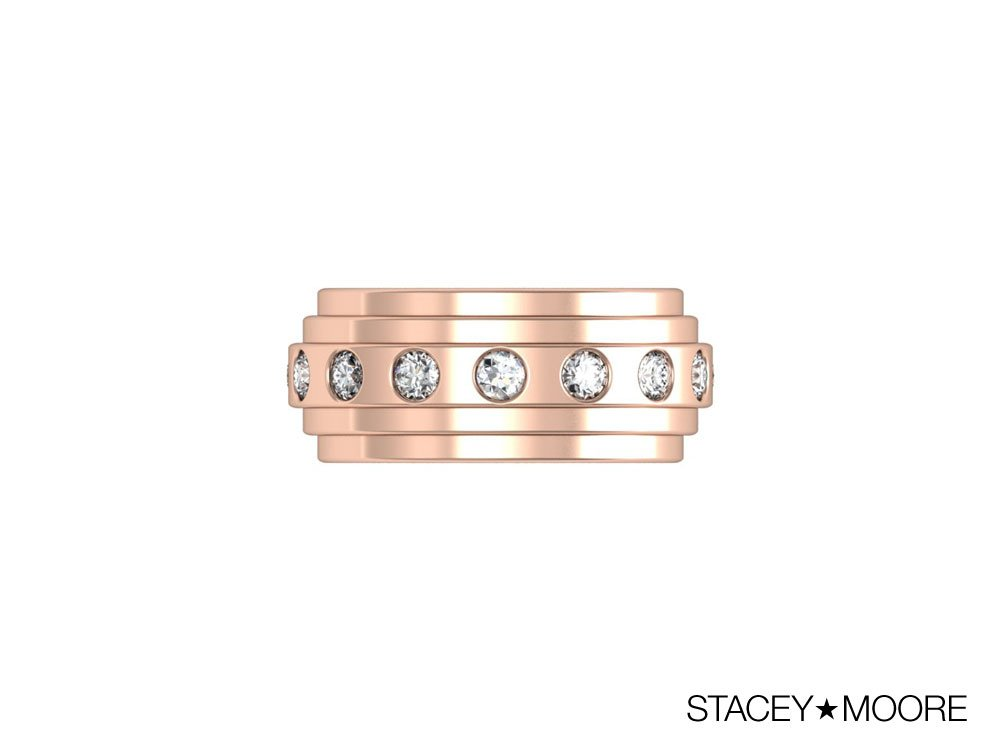 Rose Gold Three Layer Ring with Diamonds