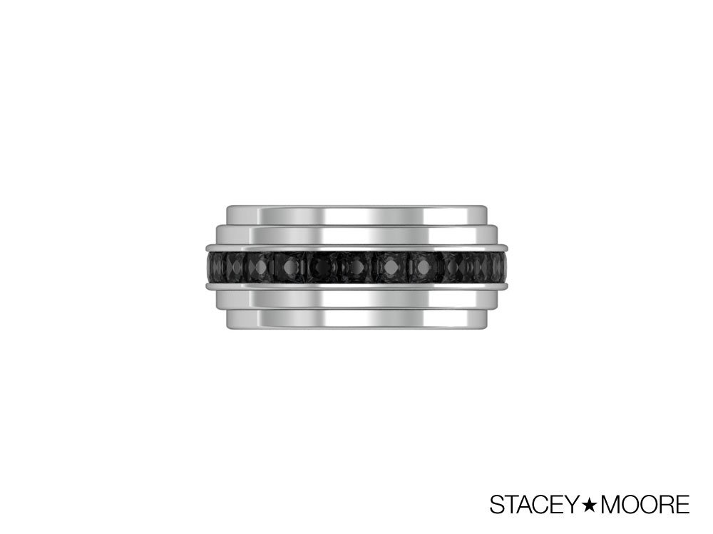 Three Layer Ring with Black Diamonds