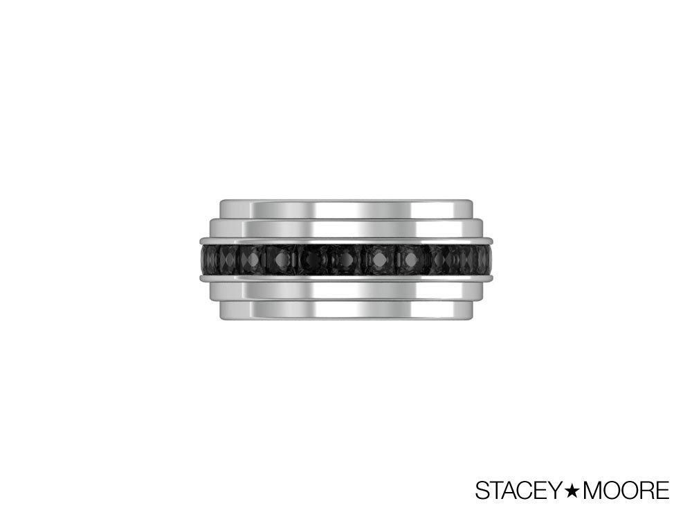 Three Layer Ring with Black Diamonds