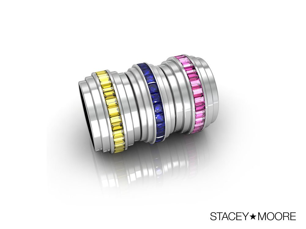 Three Layer Rings with Sapphires