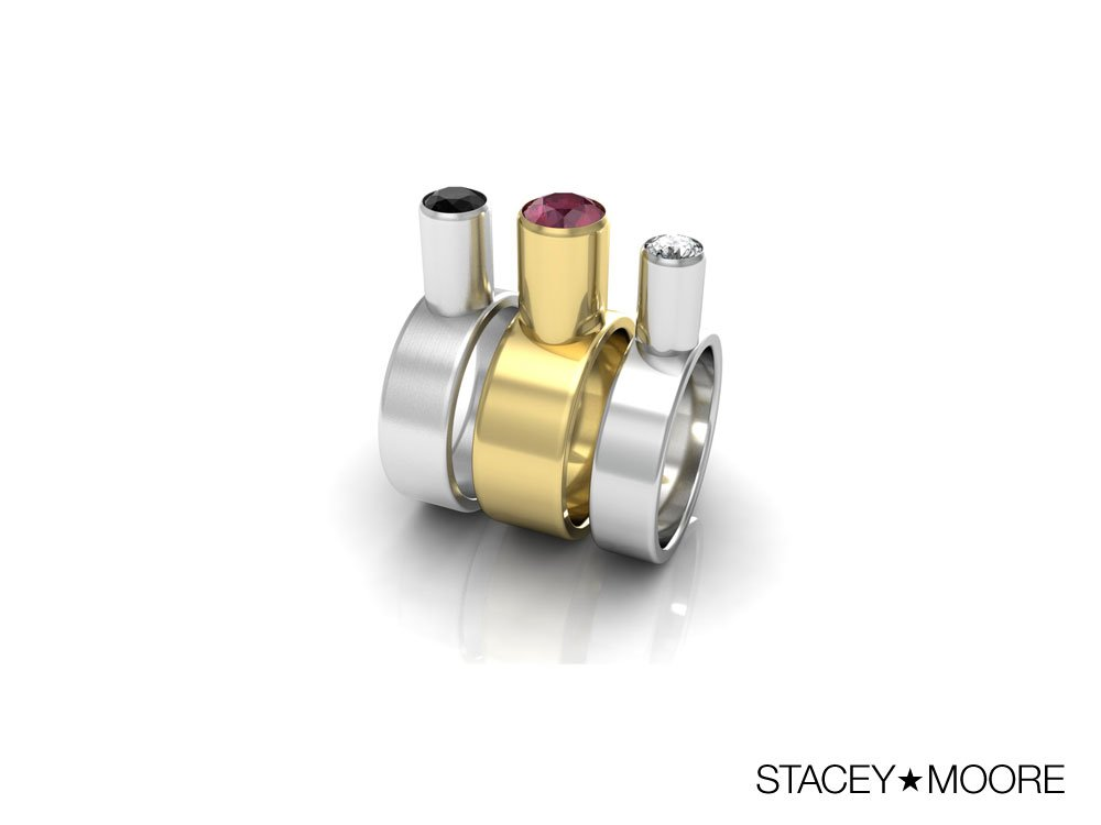 Tower Rings with Diamonds and Ruby