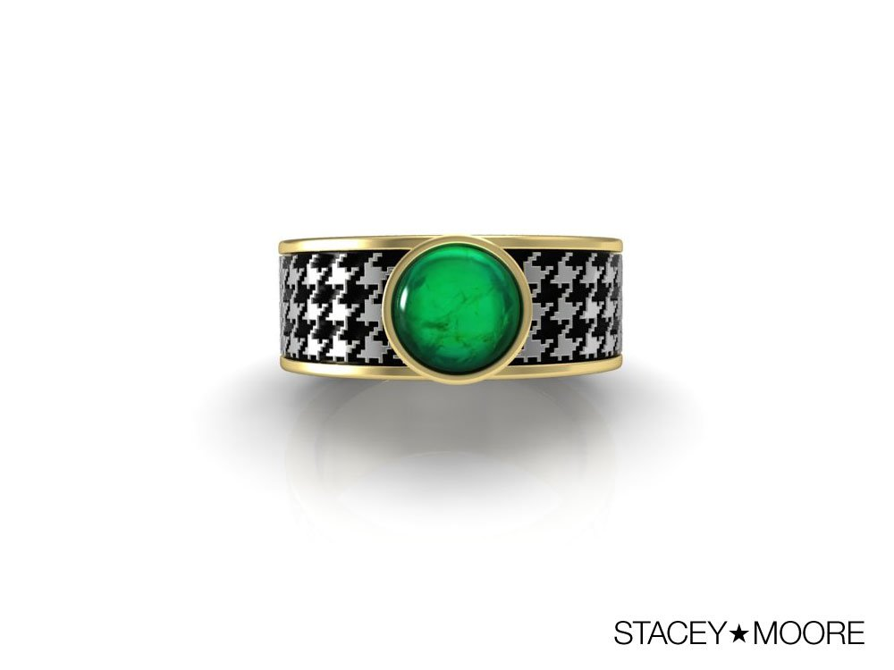 Houndstooth Rings with Emerald