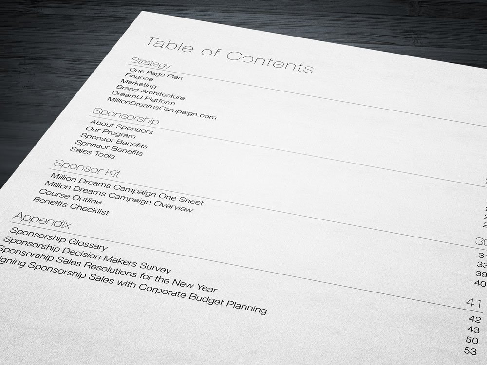 Strategic Brief Table of Contents
